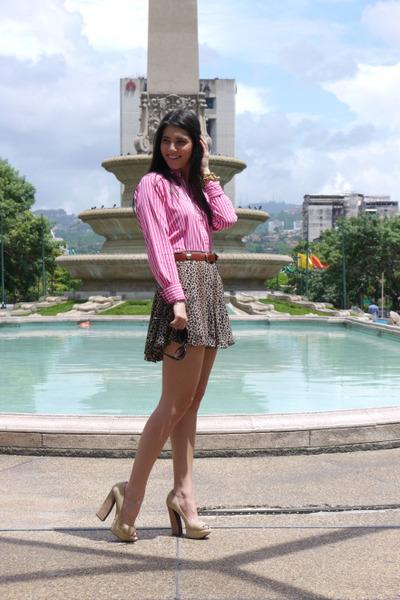 ann taylor skirt - Polo shirt - Cartier sunglasses - vintage belt