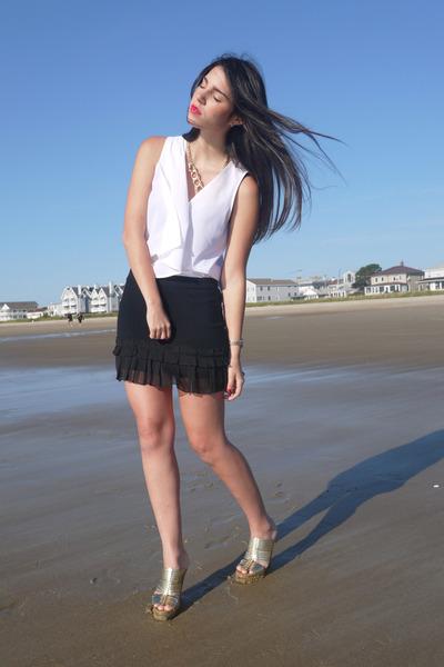 melao shirt - ann taylor skirt - coach wedges