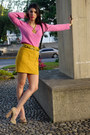 Hot-pink-ann-taylor-sweater-gold-forever-21-skirt-beige-boutique-9-pumps