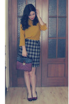 mustard Cherry koko blouse - maroon Primark bag - black Studio Classics skirt
