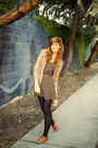 Black-unknown-tights-brown-vintage-dress-beige-vintage-cardigan-brown-vint
