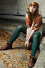 Brown-eddie-bauer-boots-green-tights-beige-charlotte-ronson-vest-orange-