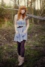Beige-unknown-boots-brown-generic-tights-blue-unknown-dress