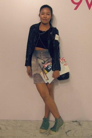 wrap skirt AgnesB skirt - leather jacket H&M jacket - cropped top DIY top