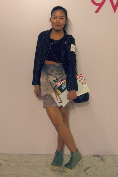 wrap skirt AgnesB skirt - leather jacket H&M jacket - cropped top DIY top
