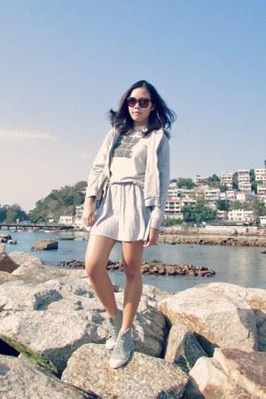 heather gray AgnesB skirt - dark brown H&M sunglasses