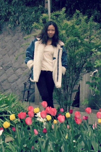 American Airforce jacket - Zara jeans - bell top Sonia Rykiel t-shirt
