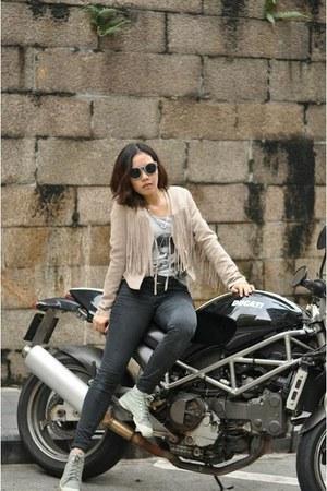 dark khaki H&M jacket - black jeans Zara jeans - H&M top
