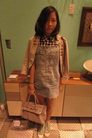 tokyo bag - millitary H&M blazer - floral print AgnesB shirt