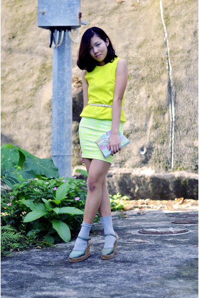 neon suede top H&M top - DIY bag - Marks&Spencer socks - Mong Kok skirt