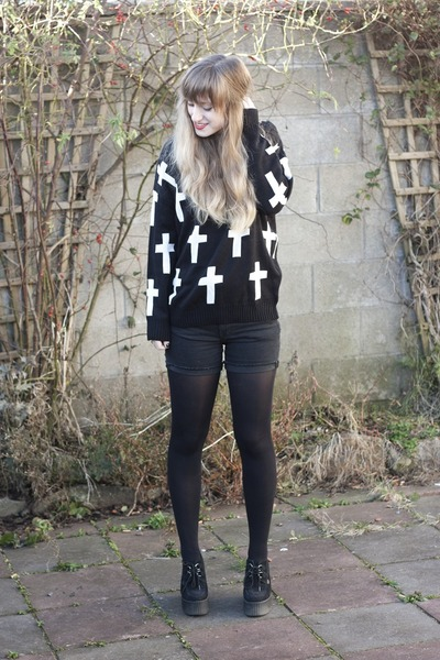 cross jumper romwe cardigan - wedges creeper Underground heels