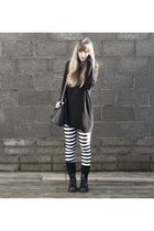 studded bag Ebay bag - all black Dr Martens boots - striped Black Milk leggings