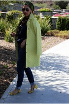 yellow merona coat - navy Express jeans - yellow Nine West flats