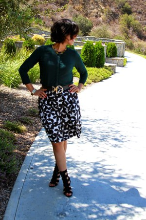 white INC skirt - forest green Marshalls sweater - black calvin klein heels
