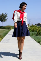 dark brown coach boots - navy 31 Phillip Lim skirt - white Kut blouse