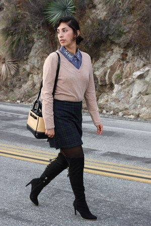 blue ann taylor shirt - black Sam and Libby boots - camel The Limited sweater