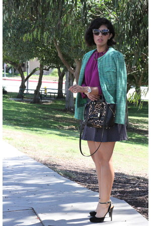 green cynthia rowley jacket - black Michael Kors skirt - magenta Ro & De blouse