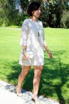 neutral H&M dress - silver Ivanka Trump bag - heather gray Steve Madden heels