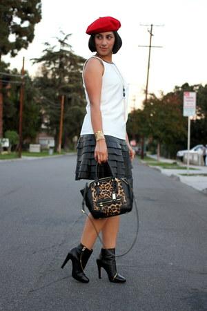 black Diane Von Furstenberg boots - white ann taylor dress
