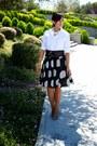 White-jones-new-york-blouse-black-kenar-skirt