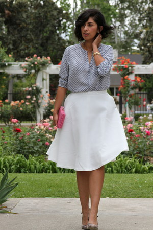 white Rhapsodielle skirt - bubble gum via TJ Maxx bag - sky blue Ro & De blouse