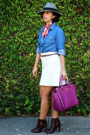 purple Michael Kors purse - dark brown coach boots - beige Express skirt