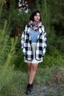 Black-joa-coat-red-merona-scarf-sky-blue-levis-top