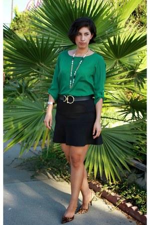 dark green DKNY blouse - bronze Marciano heels