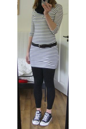 white H&M dress - black H&M leggings - black Converse shoes