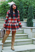 Zara boots - choiescom dress - Accessorize hat - Celine bag - Prada sunglasses