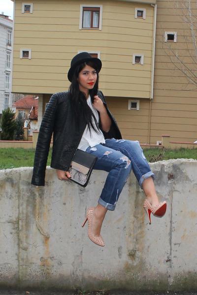 Zara jeans - Christian Louboutin shoes - yargıcı hat - Mango jacket - Zara bag