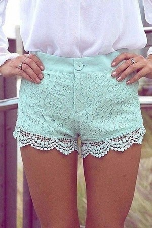 aquamarine shorts - white blouse