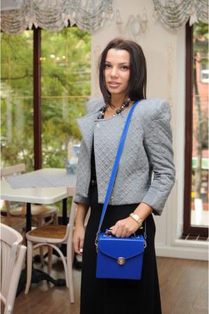 blue unknown bag - black acne dress