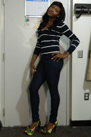 cutesy girl pumps - navy Forever 21 jeans - navy Forever 21 sweater