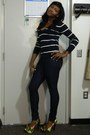 Navy-forever-21-jeans-navy-forever-21-sweater-cutesy-girl-pumps