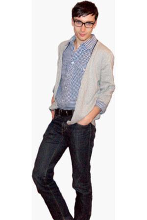 navy calvin klein jeans - blue H&M shirt - periwinkle Kiabi cardigan - black CEL