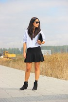 Zara skirt - Topshop boots - Zara shirt