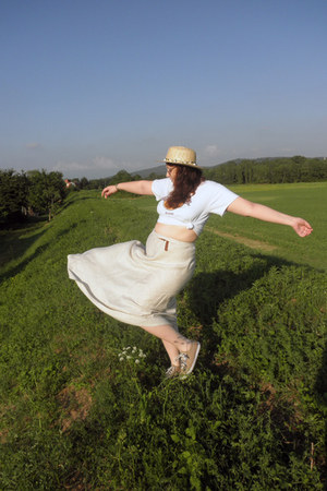 beige maxi skirt handmade skirt - light yellow straw hat asos hat