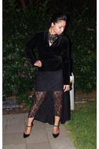 lace Topshop skirt - velvet Witchery blouse - velvet Charles & Keith heels