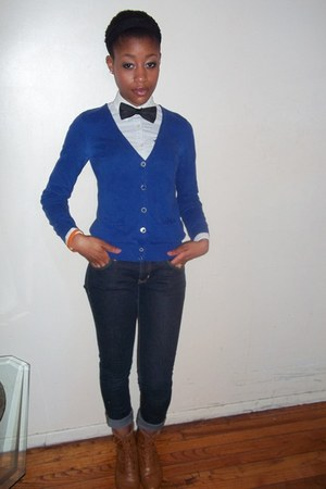 black H&M tie - abercrombie and fitch shirt - blue H&M cardigan