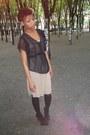 Gold-dress-black-sheer-blouse-black-paris-hilton-heels