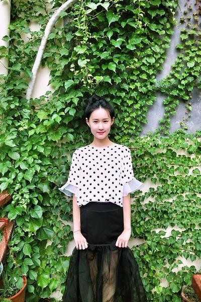 Polka-dot-from-korea-shirt-see-through-from-korea-skirt