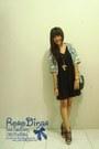 Black-simple-minimal-dress-dark-green-floral-shirt-black-nett-wedges-gold-