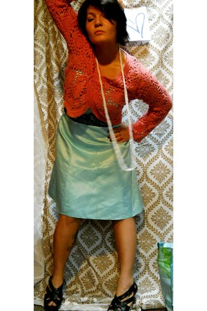 turquoise blue second hand dress - salmon thrifted vintage cardigan - black Stev