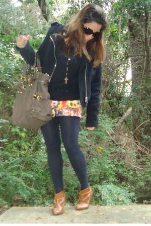 orange Zara shorts - brown Zara boots
