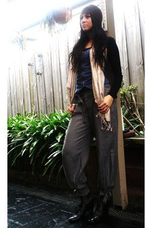 gray Kmart pants - blue lolita vest - brown hat - black Kmart stockings - black