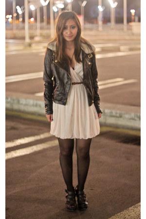 neutral H&M dress - black biker jacket asos jacket