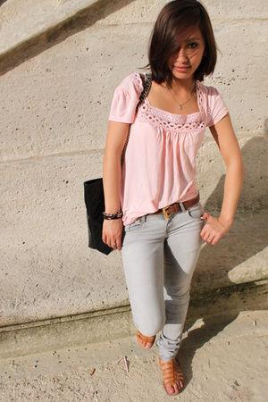 beige H&M top - silver Zara jeans