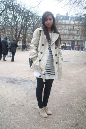beige Mango coat - beige H&M cardigan