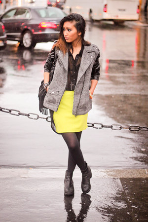 light yellow Forever 21 skirt - black vagabond boots - black H&M jacket
